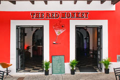 San Juan velho histórico - a barra de macaco vermelha Fotos de Stock