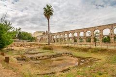 San Lázaro Roman Aqueduct. The San Lázaro Roman aqueduct is a Roman aqueduct located in Mérida, Spain. It was declared Bien de Interés Cultural in 1912 Stock Photo