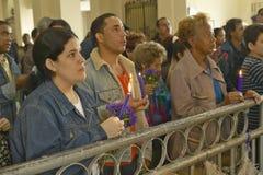 San Lazaro Catholic Church and people praying in El Rincon, Cuba Royalty Free Stock Image