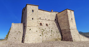 San Leo - Fortress of San Leo. The Renaissance Fortress of San Leo, located on a rocky cliff, dates back to the fifteenth century Stock Image
