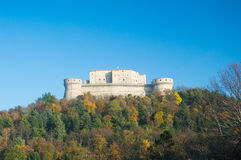 San Leo hystoric castle in Romagna countryside travel Italy stock photography