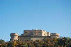 San Leo hystoric castle in Romagna countryside travel Italy Royalty Free Stock Photo