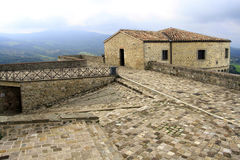 San Leo, Italy - September 2014: Interior view of the fortifications of the fortress of San Leo stock photos