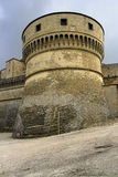 San Leo, Italy - September 2014: the round tower in the fortress stock photo