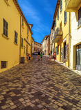 San Leo - Street of the medieval village Stock Images