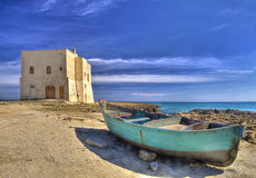 San Leonardo Watchtower, on Pilone  bay, Ostuni village, Salento Stock Image