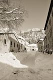 San Leos Dorf im Winter lizenzfreies stockfoto