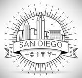 San linear Diego City Silhouette con diseño tipográfico Fotos de archivo