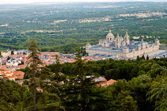San Lorenzo de El Escorial Monastery From Above Stock Photo