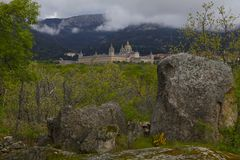 San Lorenzo del Escorial, Madrid, Spanje, 7 Mei, 2019, Weergeven van Felipe II Stoel royalty-vrije stock foto