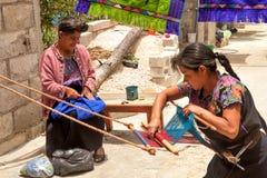 San Lorenzo Zinacantán, Mexican women weaving Royalty Free Stock Images