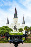 San Louis Cathedral guardando da Jackson Square Fotografie Stock