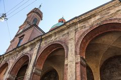 San luca arcade in Bologna, Italy Royalty Free Stock Images