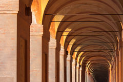 San Luca arcade in Bologna, Italy. San Luca arcade is the longest porch in the world. Bologna, Italy Royalty Free Stock Photos
