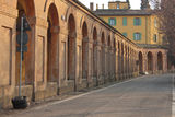 San Luca arcade in Bologna, Italy. San Luca arcade is the longest porch in the world. Bologna, Italy Stock Image