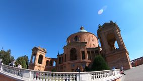 San Luca Sanctuary courtyard. Bologna, Italy - September 29, 2018: panorama of the courtyard of Madonna of San Luca Sanctuary on Bologna hills with international stock video footage