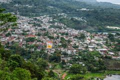 San Lucas Toliman. View of the village of San Lucas Toliman, Solola, Guatemala from the cypress Stock Photos