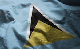 San Lucia Flag Rumpled Close Up immagine stock