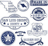 San Luis Obispo county, CA. Set of stamps and signs Stock Images