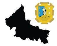 San Luis Potosi  map silhouette and coat of arms, emblem, national symbol. San Luis Potosi  map silhouette and coat of arms, emblem, national symbol isolated on Stock Image
