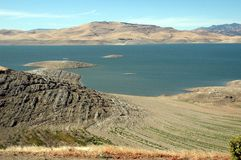 San Luis Reservoir. Water level receding at San Luis Reservoir during July 2009 Royalty Free Stock Photography