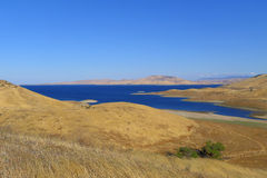 The San Luis Reservoir. Is an artificial lake on San Luis Creek in the eastern slopes of the Diablo Range of Merced County, California, approximately 12 mi (19 Royalty Free Stock Photos