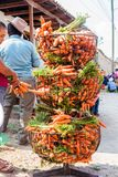 SAN MANUEL DE COLOHETE, HONDURAS - APRIL 15, 2016: Carrots at a market stall. There is a big market in this village. Twice a month royalty free stock photos
