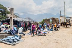 SAN MANUEL DE COLOHETE, HONDURAS - APRIL 15, 2016: Clothing stalls at a market. There is a big market in this village. Twice a month royalty free stock photo