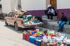 SAN MANUEL DE COLOHETE, HONDURAS - APRIL 15, 2016: Household articles sellers at a market. There is a big market in this. Village twice a month royalty free stock image