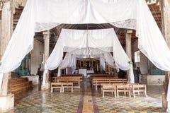 SAN MANUEL DE COLOHETE, HONDURAS - APRIL 15, 2016: Interior of an old colonial church in San Manu. El stock image