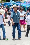 SAN MANUEL DE COLOHETE, HONDURAS - APRIL 15, 2016: Local indigenous people at a market. There is a big market in this. Village twice a month stock photo