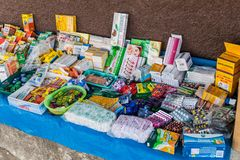 SAN MANUEL DE COLOHETE, HONDURAS - APRIL 15, 2016: Medicines market stall. There is a big market in this village twice a. Month stock photos