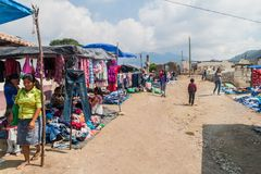 SAN MANUEL DE COLOHETE, HONDURAS - APRIL 15, 2016: View of a market. There is a big market in this village twice a mont. H stock image