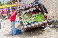 SAN MANUEL DE COLOHETE, HONDURAS - APRIL 15, 2016: Water melon seller at a market. There is a big market in this village. Twice a month royalty free stock images