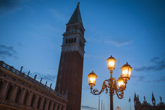 San Marco Bell Tower, street light, Venice Stock Image