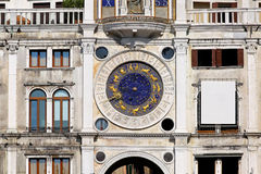 San Marco clocktower. Clock tower at San Marco square in Venice stock image
