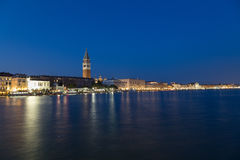 San Marco District Skyline. In Venice at night. The  Campanile di San Marco Bell Tower can be seen Royalty Free Stock Images