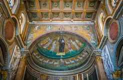 Basilica of San Marco near Venezia Palace and Campidoglio in Rome, Italy. stock photos