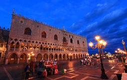 The San Marco Plaza Venice. The night scene of San Marco Plaza in Venice Italy royalty free stock image