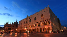 The San Marco Plaza Venice. The night scene of San Marco Plaza in Venice Italy royalty free stock photography