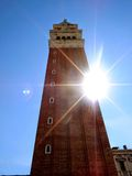 San Marco's Plaza. Bell tower in San Marco's plaza in Venice, Italy royalty free stock photos