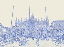 San Marco square and church in Venice, Italy stock photo