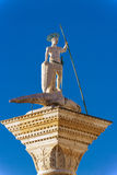 San Marco Square - Column of St. Theodore. Statue of St Theodore on the cap of western column, Piazzetta San Marco, Venice, Italy Stock Photos