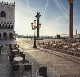 San Marco square at dawn in Venice, Italy Stock Images