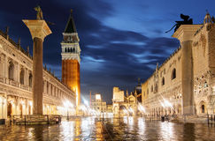 San Marco square in the evening, Venice Italy Royalty Free Stock Photo