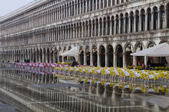 San Marco square during the flood Royalty Free Stock Photos