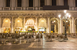 San Marco square at night in Venice Royalty Free Stock Photos