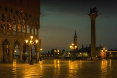 San Marco square at sunrise in Venice, Italy Stock Images