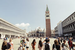 San Marco square with tourist in Venice, Italy. Venice, Italy - August 19, 2016 : San Marco square with tourist Royalty Free Stock Image