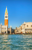 San Marco square in Venice, Italy as seen from the lagoon Royalty Free Stock Images